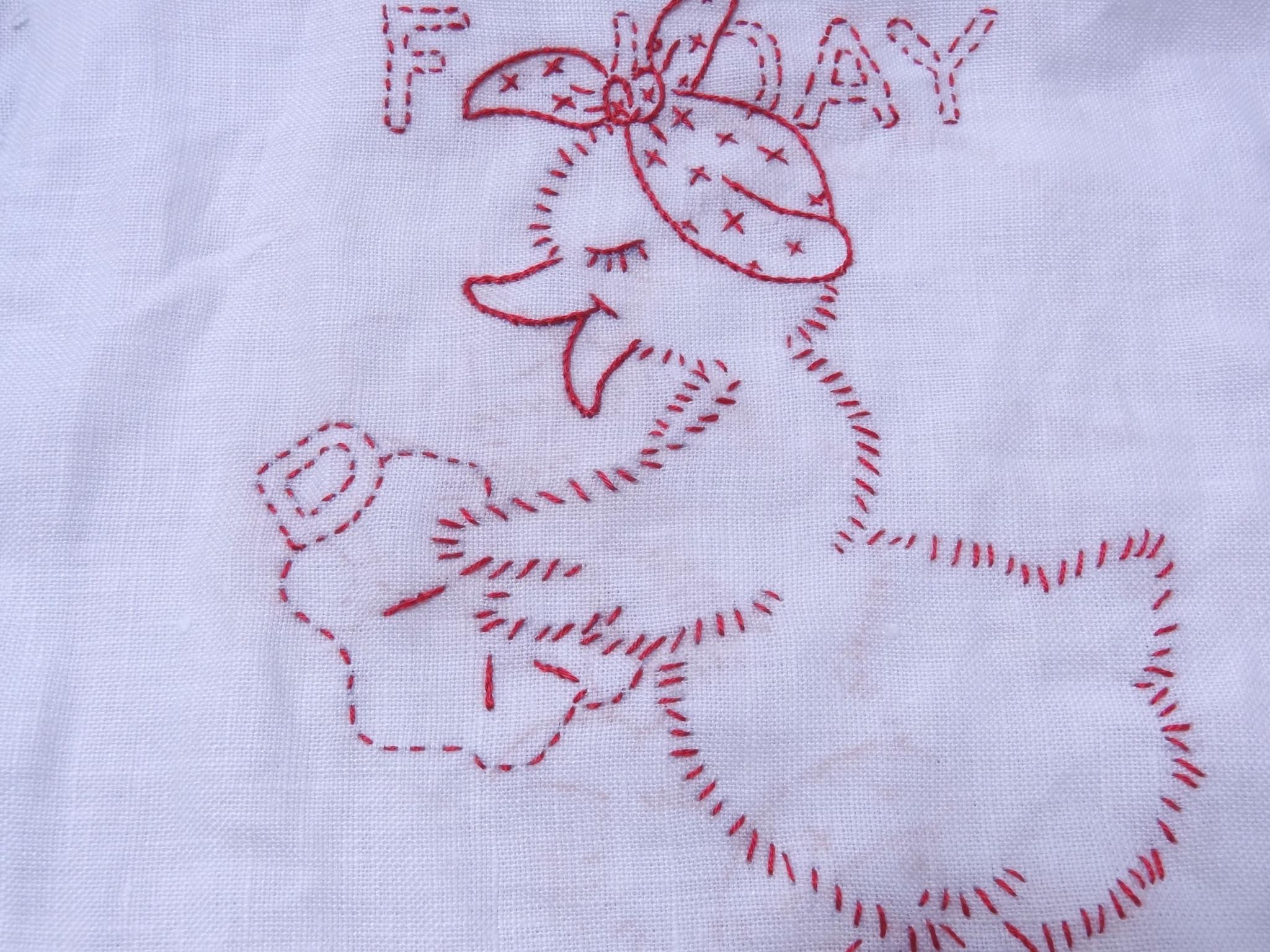 アントマーサの図案でアヒルの刺繍しました。